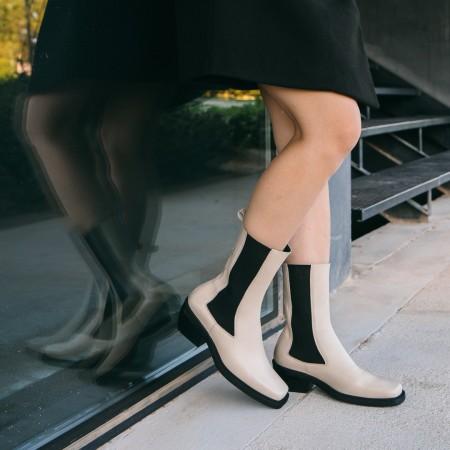 Beige leather elastic boots Denver