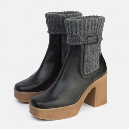 Black leather sock ankle boots Iron