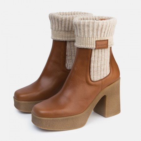 Caramel leather sock ankle boots Iron