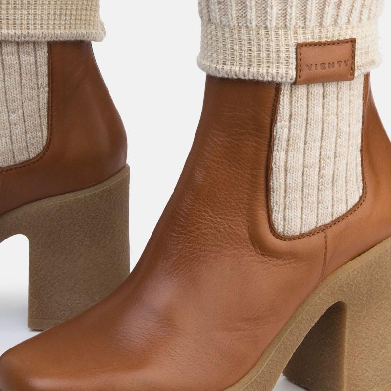 Botín calcetín piel caramelo IRON