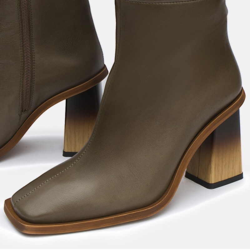 Bota piel kaki CAROLINE