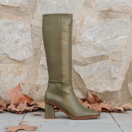 Khaki leather boot Sarah