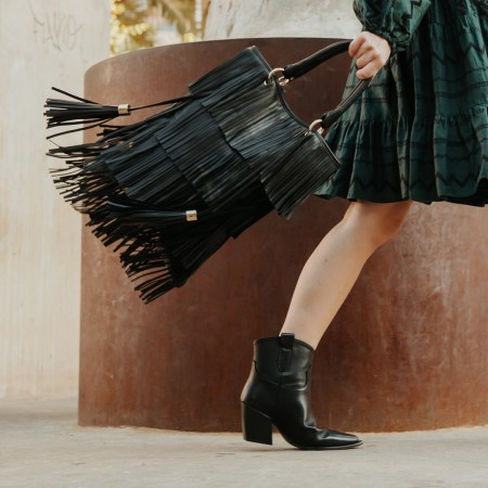 Black leather fringed bag Kim