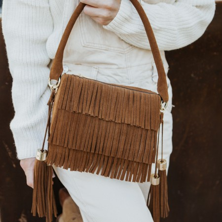 Fringed suede leather bag Kylie