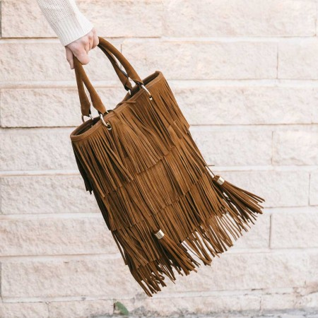 Fringed suede leather bag Kim