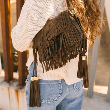 Taupe suede fringed bag Kylie