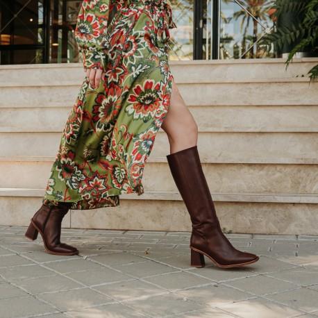 Brown leather boot Sarah