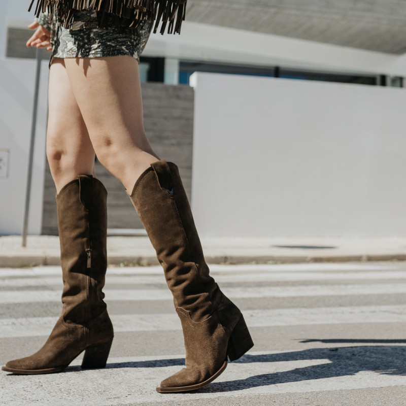Taupe suede cowboy high boots GIVEN