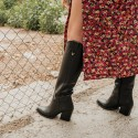 Black leather cowboy high boots Given