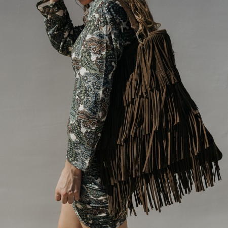 Taupe suede fringed bag Kim
