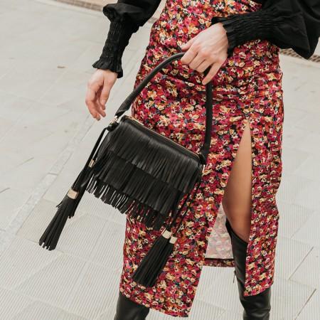 Black leather fringed bag Kylie