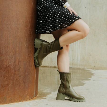 Khaki leather ankle boots Dhalia